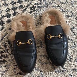 Gucci Princetown Fur Mule Flats